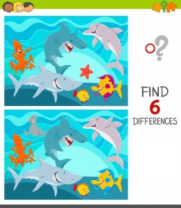 Between  water animals spot the differences