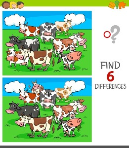 Between Cows spot the differences