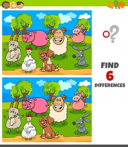 Between animals spot the differences