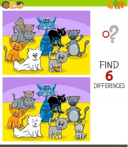Between cats spot the differences