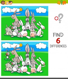 Between rabbits spot the differences