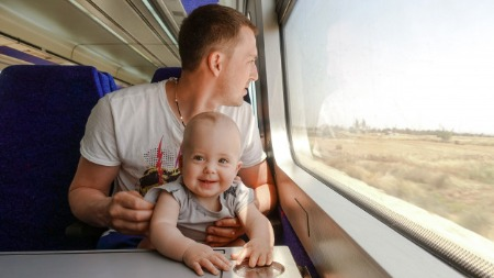 Travelling with a child in train